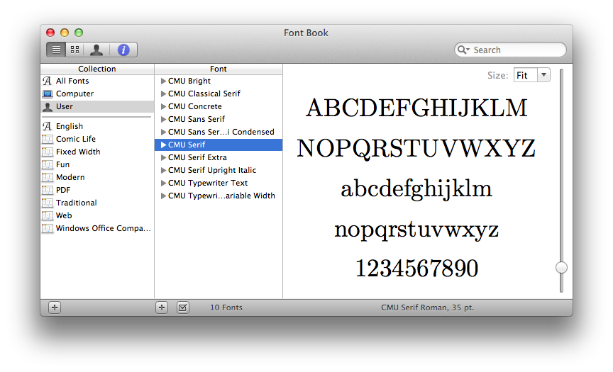 LaTeX fonts in OSX