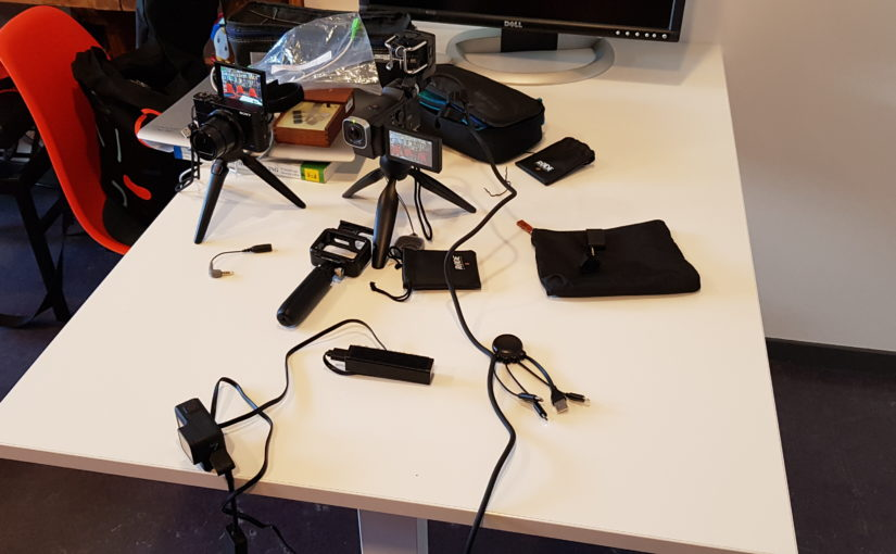 Testing simple camera and microphone setups for quick interviews